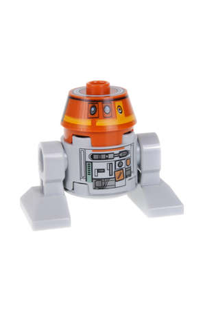 rebels: Adelaide, Australia - February 03, 2016: A studio shot of a C1-10P Chopper minifigure from the Star Wars Rebels Animated Series. Lego is extremely popular worldwide with children and collectors. This Minifigure appears in the 75048 The Phantom Lego Kit.