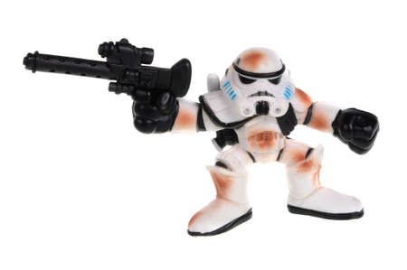 action figure: Adelaide, Australia - February 09, 2016:An isolated shot of a Stormtrooper action figure from the Star Wars movie. Merchandise from the Star Wars movies are highy sought after collectables.