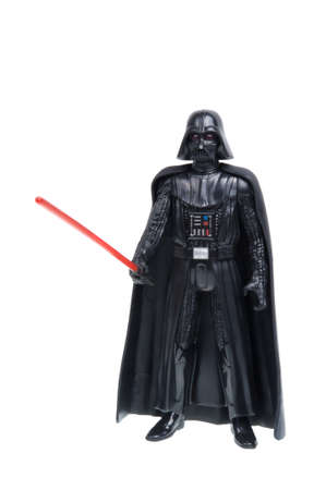 action figure: Adelaide, Australia - December 02, 2015:An isolated shot of a 2015 Darth Vader action figure from the Star Wars The Force Awakens movie.Merchandise from the Star Wars movies are highy sought after collectables.