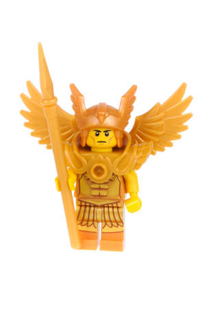 collectable: Adelaide, Australia - February 03, 2016:An isolated shot of a Flying Warrior Lego Minifigure from Series 15 of the collectable lego minifigure toys. Lego is very popular with children and collectors worldwide. Editorial