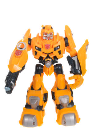 sought: Adelaide, Australia - February 09, 2016: A studio shot of a Bumblebee Action Figure from the Transformers. Transformers is a popular animated and movie series. Toys from the series are highly sought after collectables.