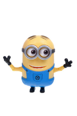 sought: Adelaide, Australia - December 07, 2015: An isolated image of a Minion Action Figure from the animated movie Minions. Minions are a very popular animated characters from the despicable me and Minions movies with merchandise being highly sought after colle