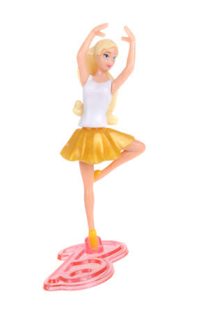 barbie: Adelaide, Australia - February 07, 2016: An isolated Barbie Kinder Egg Toy photo. Kinder Surprise eggs are a popular treat for children and the toys contained inside are highly sought after collectables.