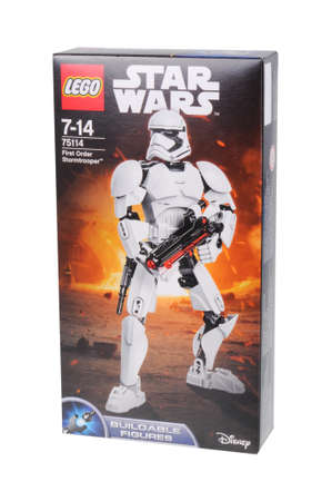 stormtrooper: Adelaide, Australia - February 03, 2016: A photo of a Lego Star Wars First Order Stormtrooper Buildable Figure Lego Kit 75114 isolated on a white background. Lego and Star Wars merchandise are highly sought after collectables.