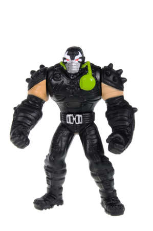 action figure: Adelaide, Australia - February 04, 2016: An isolated image of a Bane Action Figure from the dark knight movie. Batman is one of DC Comics most popular superheros, spawning many movies, TV series and collectables. Editorial