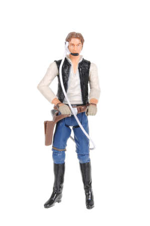 sought: Adelaide, Australia - February 09, 2016:An isolated shot of a Han Solo action figure from the Star Wars universe.Merchandise from the Star Wars movies are highy sought after collectables.
