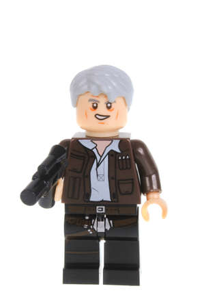 collectable: Adelaide, Australia - February 09, 2016: A studio shot of a Old Han Solo Force Awakens minifigure from the Star Wars Force Awakens Movie. Lego is extremely popular worldwide with children and collectors.