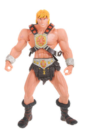 masters: Adelaide, Australia - February 09, 2016: A studio shot of A He-Man Action Figure from the Masters of the Universe isolated on a white background. Masters of the universe was a popular animated series from the 1980s, merchandise from the series are highly