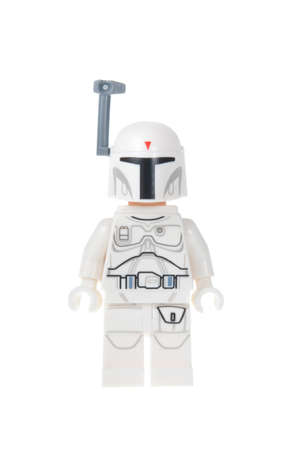 bounty: Adelaide, Australia - October 19, 2015: A studio shot of a White Boba Fett Lego Minifigure from the Star Wars Movie Series. Lego is very popular with children and collectors worldwide.