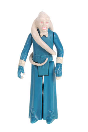 fortuna: Adelaide, Australia - February 09, 2016: A studio shot of a Vintage Bib Fortuna Action Figure on a white background from the Star Wars universe. Star Wars is a very popular movie franchise worldwide and merchandise from Star Wars movies are highly sought  Editorial