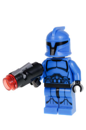 commando: Adelaide, Australia - February 07, 2016: A studio shot of a Senate Commando Lego minifigure from the Star Wars Movie Series. Lego is extremely popular worldwide with children and collectors. Editorial