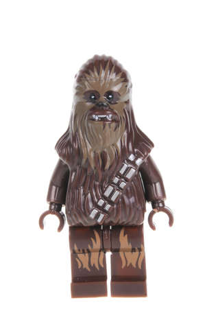 collectable: Adelaide, Australia - February 09, 2016: A studio shot of a Old Chewbacca Force Awakens minifigure from the Star Wars Force Awakens Movie. Lego is extremely popular worldwide with children and collectors. Editorial