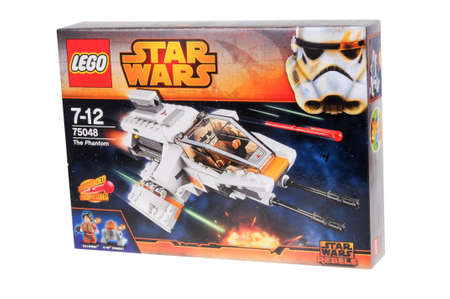 rebels: Adelaide, Australia - February 03, 2016: A photo of a Lego Star Wars Rebels The Phantom 75048 kit isolated on a white background. Lego and Star Wars merchandise are highly sought after collectables.