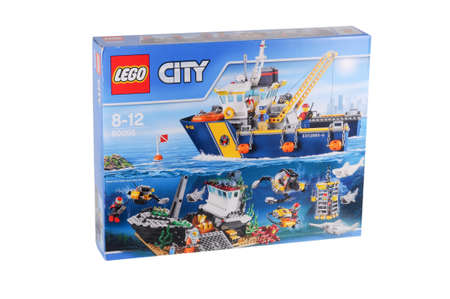 collectable: Adelaide, Australia - February 07, 2016: A studio shot of a Lego City 60095 Deep Sea Exploration Vessel Set from the popular Lego City series. Lego is extremely popular worldwide with children and collectors.