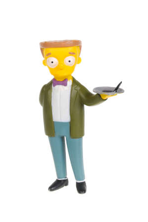 the series: Adelaide, Australia - February 09, 2016:A studio shot of a Waylon Smithers Figurine from the animated series The Simpsons. The Simpson is an extremely popular worldwide TV Series.