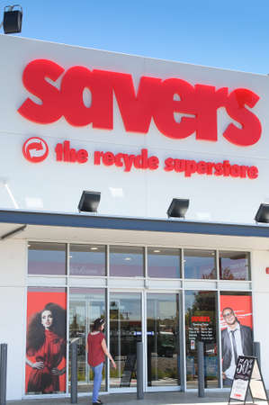 the throughout: Adelaide, Australia - February 8, 2016: The exterior of a Savers Recycle Superstore. The Savers chain commenced operation in America in the 1950s and has since grown to have numerous stores throughout America, Canada and Australia. The company collects d