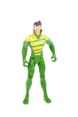 supervillian: Adelaide, Australia - January 03, 2016: A Weather Wizard action figure isolated on a white background from the DC Comics universe. Weather Wizard is an archenemy of The Flash.Merchandise from the DC Comics universe are highly sought collectables.
