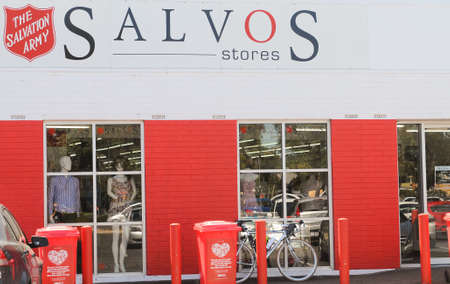 household goods: Adelaide, Australia - February 8, 2016: The exterior of a Salvation Army Store. The Salvation Army collects donations of recycables clothes and household goods from the public, reselling the products and using profits to fund their programs to aid less fo