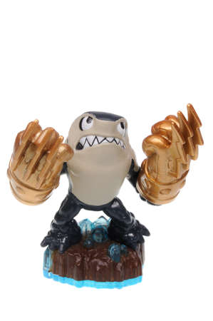 xbox: Adelaide, Australia - December 23, 2016: Skylanders Swapforce game character Knockout Terrafin. When a Skylander figurine is placed on the Portal of Power, that character will come to life in the game with their own unique abilities and powers. The skylan