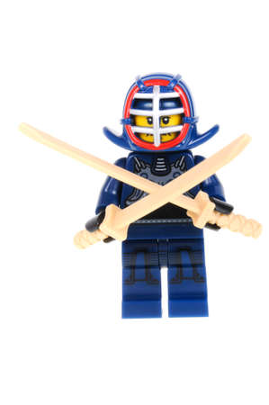 collectable: Adelaide, Australia - February 17, 2016:An isolated shot of a Kendo Fighter Lego Minifigure from Series 15 of the collectable lego minifigure toys. Lego is very popular with children and collectors worldwide. Editorial