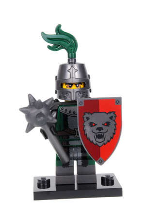 frightening: Adelaide, Australia - February 19, 2016:An isolated shot of a Frightening Knight Lego Minifigure from Series 15 of the collectable lego minifigure toys. Lego is very popular with children and collectors worldwide. Editorial