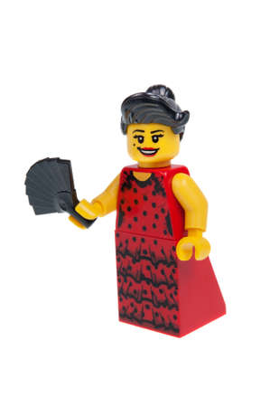 flamenco dancer: Adelaide, Australia - December 07 2015:A studio shot of a Flamenco Dancer Series 6 Lego minifigure from Minifigure Series 6. Lego is extremely popular worldwide with children and collectors.