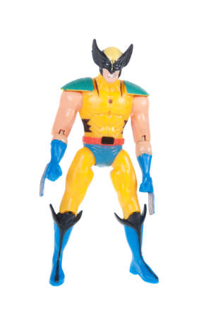 marvel: Adelaide, Australia - November 03, 2015: A studio shot of a Wolverine action figure from the X-Men Marvel universe. Merchandise from Marvel comics and movies are highy sought after collectables.