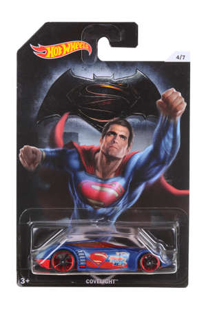 comics car: Adelaide, Australia - April 05, 2016:An isolated shot of an unopened Batman Vs Superman Hot Wheels Diecast Toy Car from the DC Comics universe. Merchandise from DC Comics movies are highly sought after collectables.