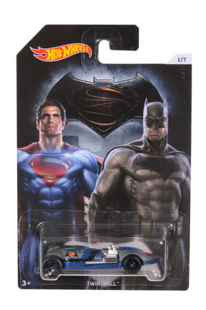 batman: Adelaide, Australia - April 05, 2016:An isolated shot of an unopened Batman Vs Superman Hot Wheels Diecast Toy Car from the DC Comics universe. Merchandise from DC Comics movies are highly sought after collectables.