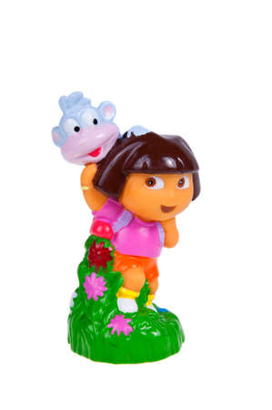 dora: Adelaide, Australia - November 22, 2015: A studio shot of a Dora the Explorer and Boots Figurine. Dora the Explorer is a popular educational animated TV series aired on the Nickelodeon network. The popular series is aired throughout the world and has spaw