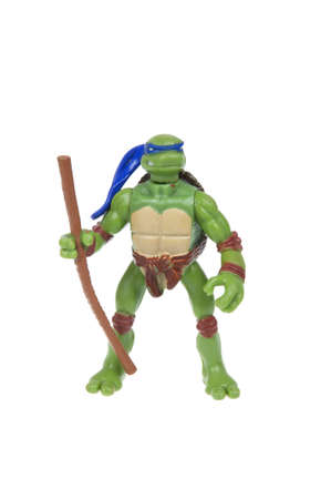 sought: Adelaide, Australia - January 02, 2016: An isolated image of a Donatello TMNT Action Figure from the Teenage Mutant Ninja Turtles. Teenage Mutant Ninja Turtles is a very popular animated and movie series with merchandise being highly sought after collecta