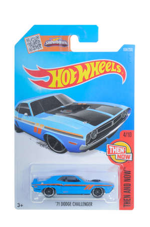 dodge: Adelaide, Australia - April 06, 2016:An isolated shot of an unopened 1971 Dodge Challenger Hot Wheels Diecast Toy Car. Replica Vehicles made by Hot Wheels are highy sought after collectables. Editorial