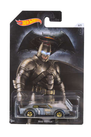 unopened: Adelaide, Australia - April 05, 2016:An isolated shot of an unopened Batman Vs Superman Hot Wheels Diecast Toy Car from the DC Comics universe. Merchandise from DC Comics movies are highly sought after collectables.