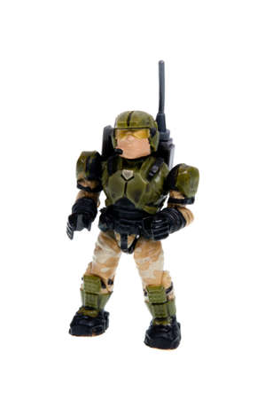 plastic soldier: Adelaide, Australia - December 07, 2015: An isolated Call of Duty Soldier Mega Bloks Figurine. Mega Bloks are the main rival in the plastic blocks to Lego. Mega Bloks licence several popular brands and distribute plastic blocks and figures around the worl