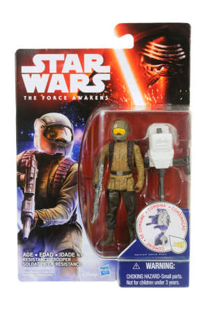 trooper: Adelaide, Australia - March 25, 2016:An isolated shot of an unopened 2015 Resistance Trooper action figure from the Star Wars The Force Awakens movie.Merchandise from the Star Wars movies are highy sought after collectables.