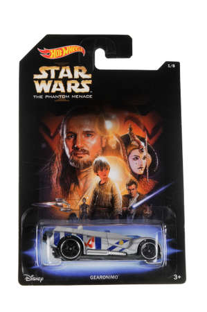 menace: Adelaide, Australia - March 27, 2016:An isolated shot of an unopened The Phantom Menace Gearonimo Hot Wheels Diecast Toy Car from the Star Wars universe.Merchandise from the Star Wars movies are highy sought after collectables.