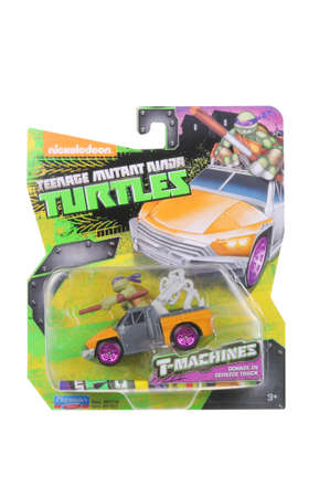 playmates: Adelaide, Australia - March 11, 2016:An isolated shot of an unopened Donatello TMNT Diecast Toy Car from the popular nickelodeon animated series. Merchandise from TMNT are highly sought after collectables.