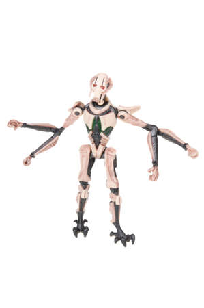Adelaide, Australia - November 15, 2015: A studio shot of a General Grievous Action Figure on a white background from the Star Wars universe. Star Wars is a very popular movie franchise worldwide, General Grievous is one of the main characters from severa Editorial