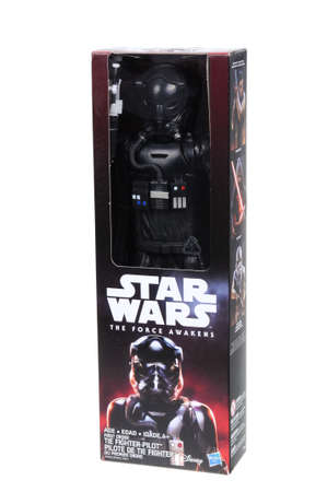 fighter pilot: Adelaide, Australia - April 05, 2016:An isolated shot of an unopened 2015 First Order Tie Fighter Pilot action figure from the Star Wars The Force Awakens movie.Merchandise from the Star Wars movies are highy sought after collectables.