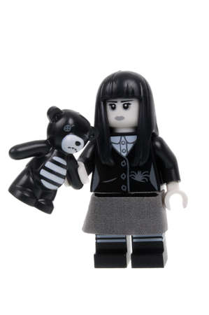 assembled: Adelaide, Australia - March 15 2016:A studio shot of a Spooky Girl Series 12 Lego minifigure from Minifigure Series 12. Lego is extremely popular worldwide with children and collectors.