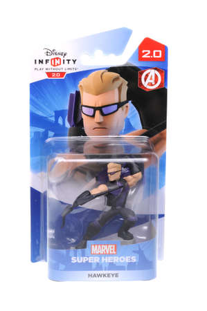part of me: Adelaide, Australia - February 23, 2016: A studio shot of a Hawkeye Figurine from the Marvel Comics universe. This figurine is part of the disney infinity 2.0 video game, where placing the figure on the interface allows players to control that character i Editorial