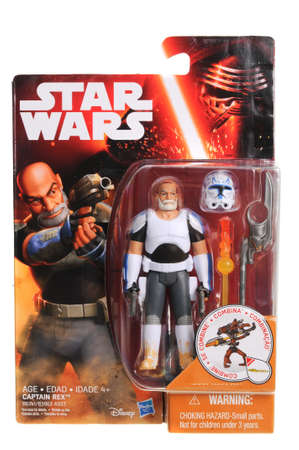 action figure: Adelaide, Australia - April 13, 2016:An isolated shot of an unopened 2015 Captain Rex action figure from the Star Wars universe.Merchandise from the Star Wars movies are highy sought after collectables. Editorial