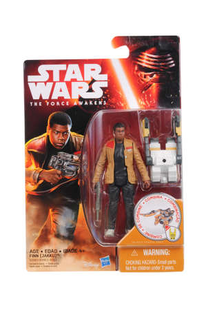 action figure: Adelaide, Australia - March 16, 2015:An isolated shot of an unopened 2015 Finn action figure from the Star Wars The Force Awakens movie.Merchandise from the Star Wars movies are highy sought after collectables.