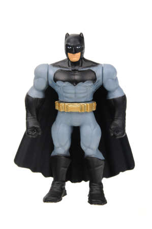 batman: Adelaide, Australia - April 15, 2016: An isolated image of a Batman Figure from the DC Comics Batman Universe.Batman is one of DC Comics most popular superheros, spawning many movies, TV series and collectables. Editorial