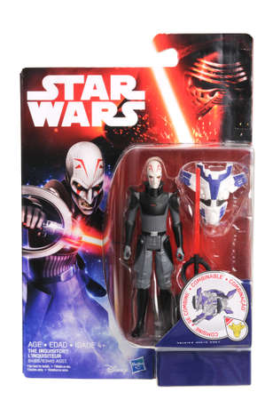 sought: Adelaide, Australia - April 13, 2016:An isolated shot of an unopened 2015 The Inquisitor action figure from the Star Wars universe.Merchandise from the Star Wars movies are highy sought after collectables.