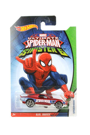 ultimate: Adelaide, Australia - March 21, 2016:An isolated shot of an unopened Ultimate Spiderman Hot Wheels Diecast Toy Car from the popular Marvel Character Spiderman. Merchandise from the Marvel universe are highy sought after collectables. Editorial