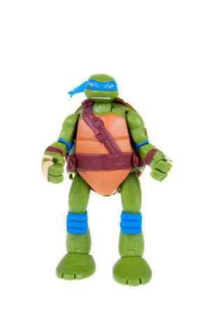 sought: Adelaide, Australia - December 20, 2015: An isolated image of a Leonardo TMNT Action Figure from the Teenage Mutant Ninja Turtles. Teenage Mutant Ninja Turtles is a very popular animated and movie series with merchandise being highly sought after collecta