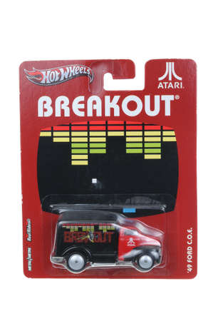 breakout: Adelaide, Australia - April 03, 2016:An isolated shot of an unopened Atari Breakout 1949 Ford Hot Wheels Diecast Toy Car. Replica Vehicles made by Hot Wheels are highy sought after collectables. Editorial
