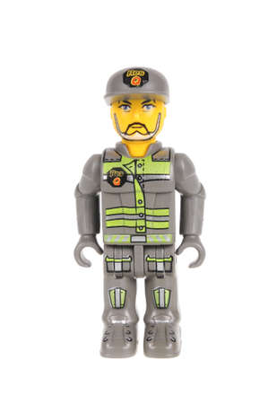 collectable: Adelaide, Australia - February 21, 2016: A studio shot of a Jack Stone Lego minifigure. Lego is extremely popular worldwide with children and collectors.