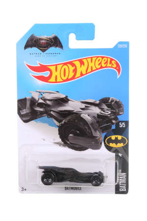 batman: Adelaide, Australia - March 21, 2016:An isolated shot of an unopened Batman Vs Superman Batmobile Hot Wheels Diecast Toy Car from the popular Videogame series Batman Arkham Knight. Merchandise from the Batman universe are highy sought after collectables.